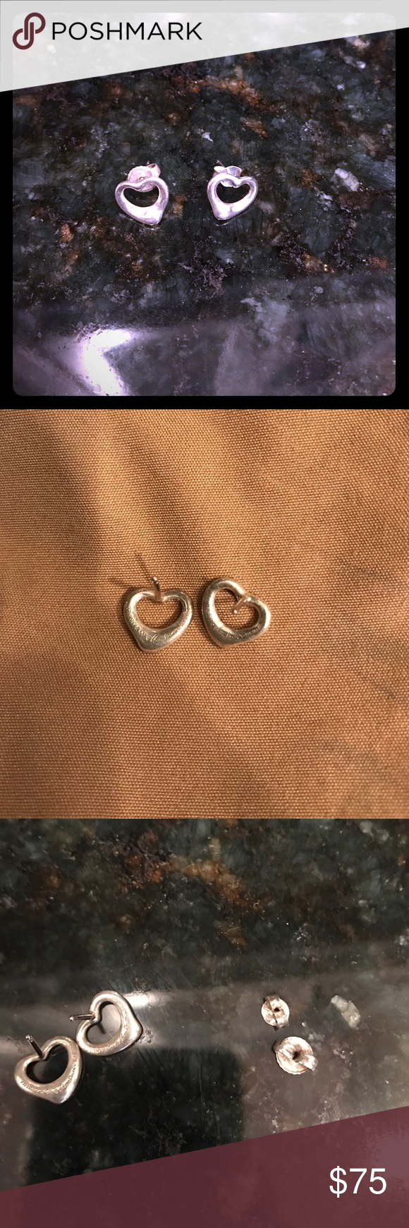 Tiffany Co Elsa Peretti Open Heart Earrings Sterling Silver Purchased For 225 But Lost One Of The Backs So As Shown Back Is A