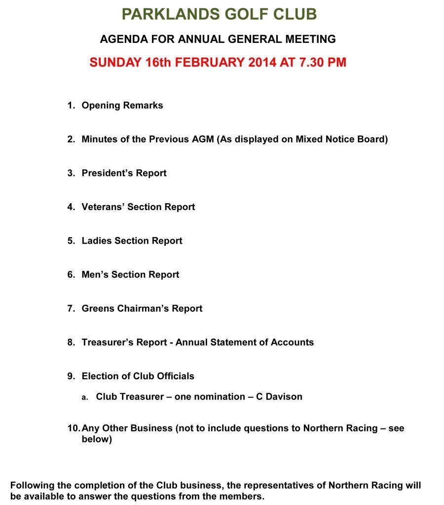 Club Agm Sunday Th February Parklands Golf Club With Treasurer S Report Agm Template 10 Professiona In 2020 Meeting Agenda Template Agenda Template Meeting Agenda