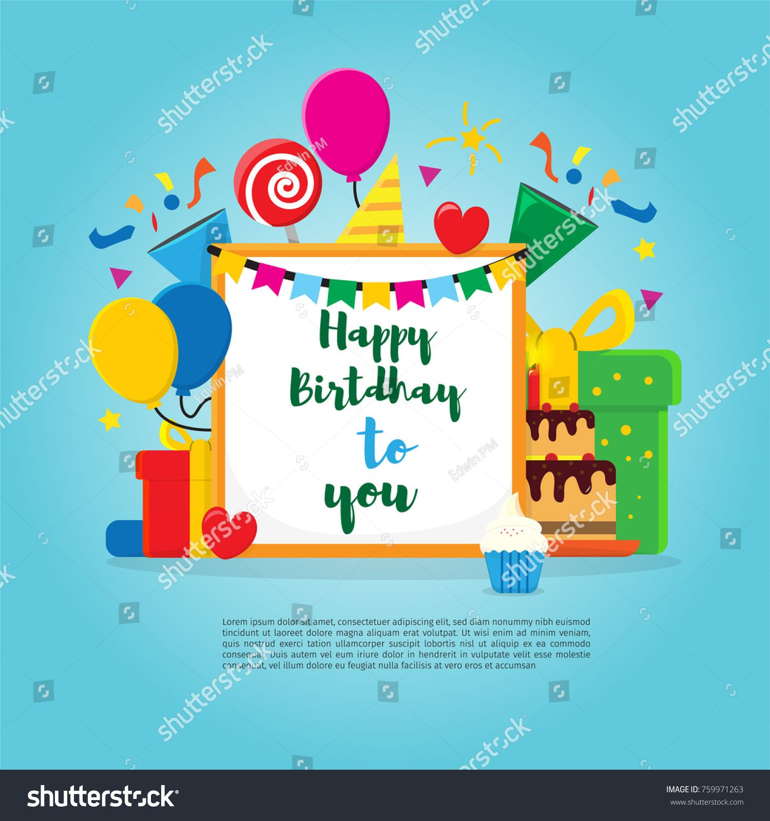 Happy birthday vector design for greeting card banner sale happy birthday vector design for greeting card banner sale design invitation kids stopboris Gallery