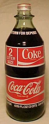 c1970s Coca Cola 2 Liter ACL Glass Soda Bottle with Full Contents, UNOPENED