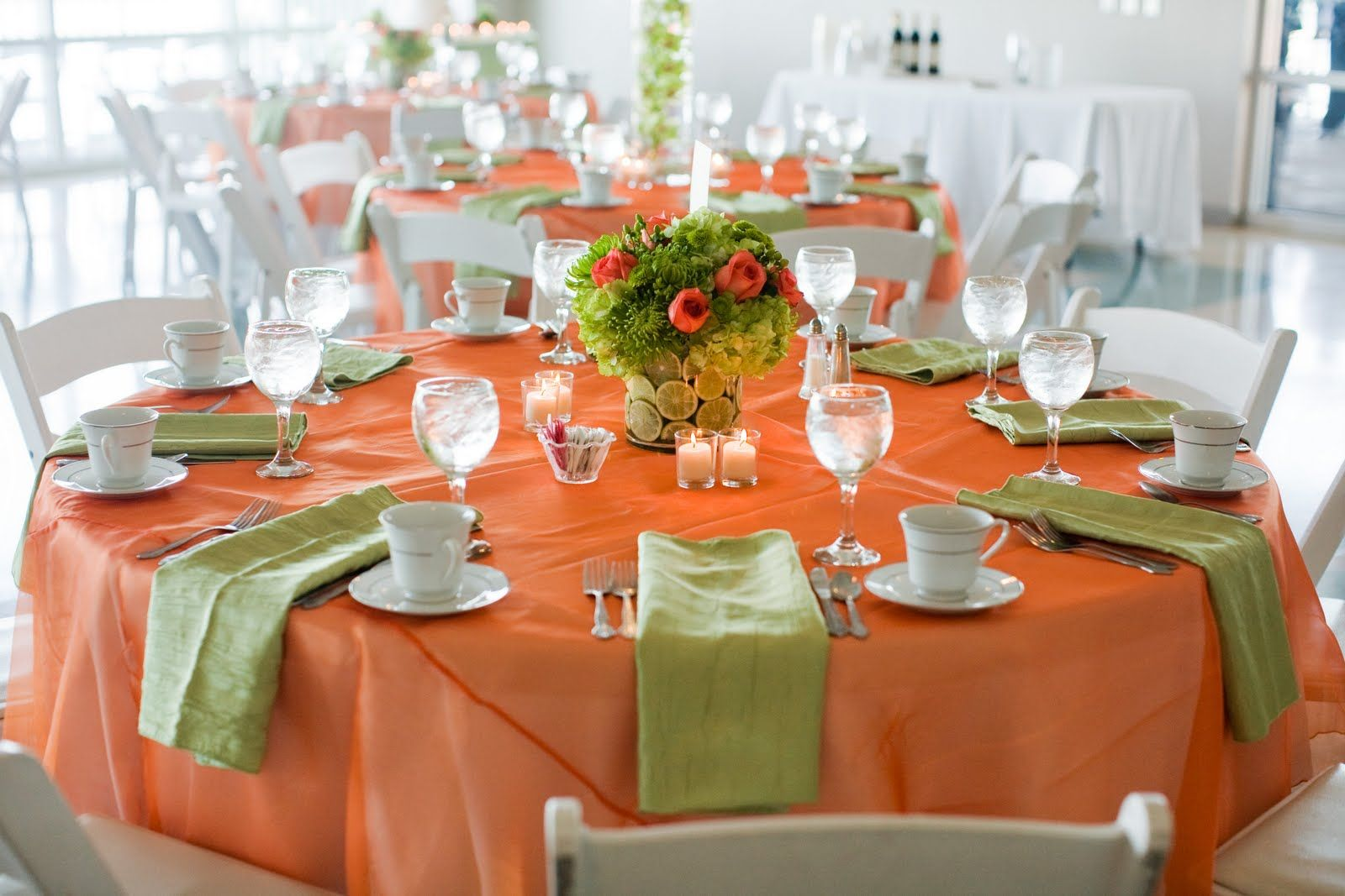 Table Decor In Orange And Lime Green Orange Lime Wedding
