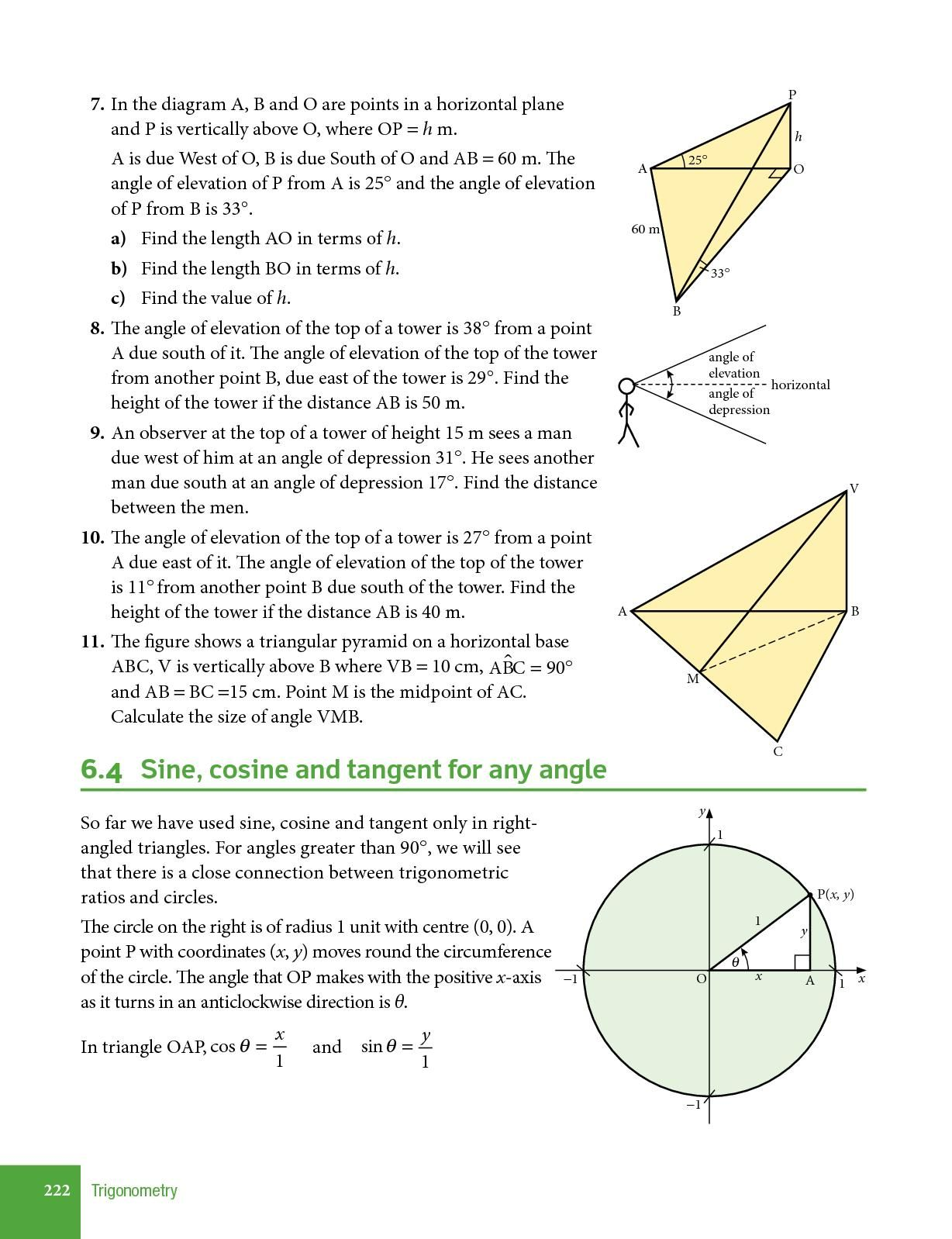 Angle Of Elevation And Depression Trig Worksheet