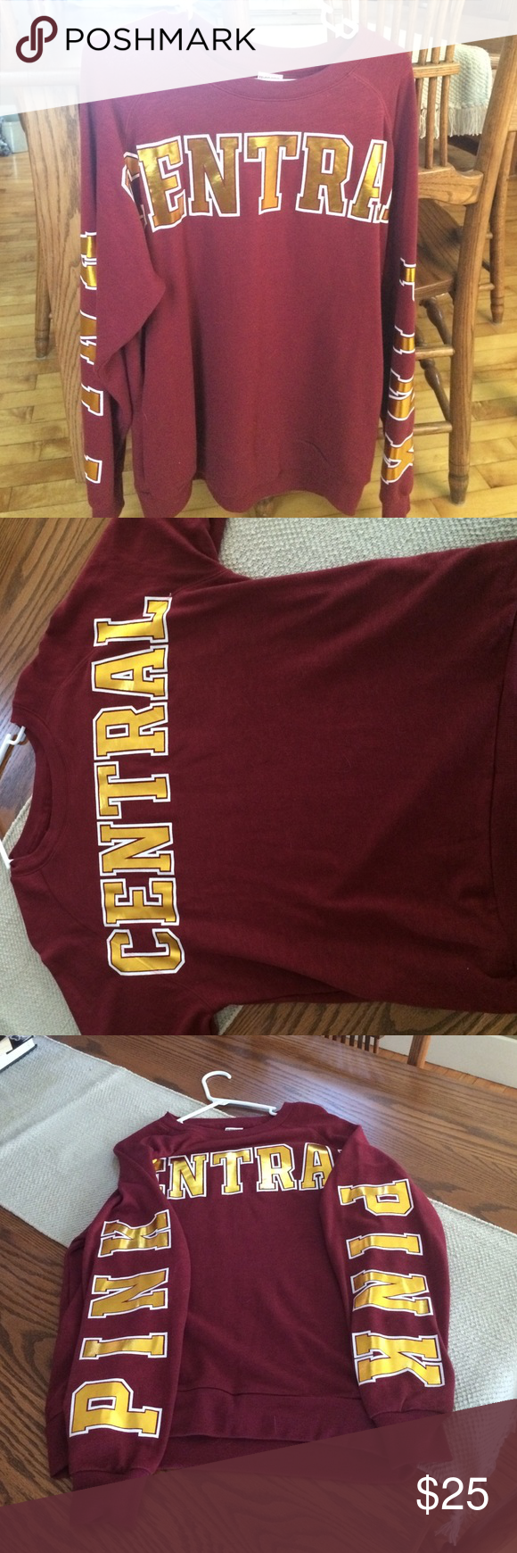 PINK brand Central Michigan University sweatshirt Maroon and Gold ...