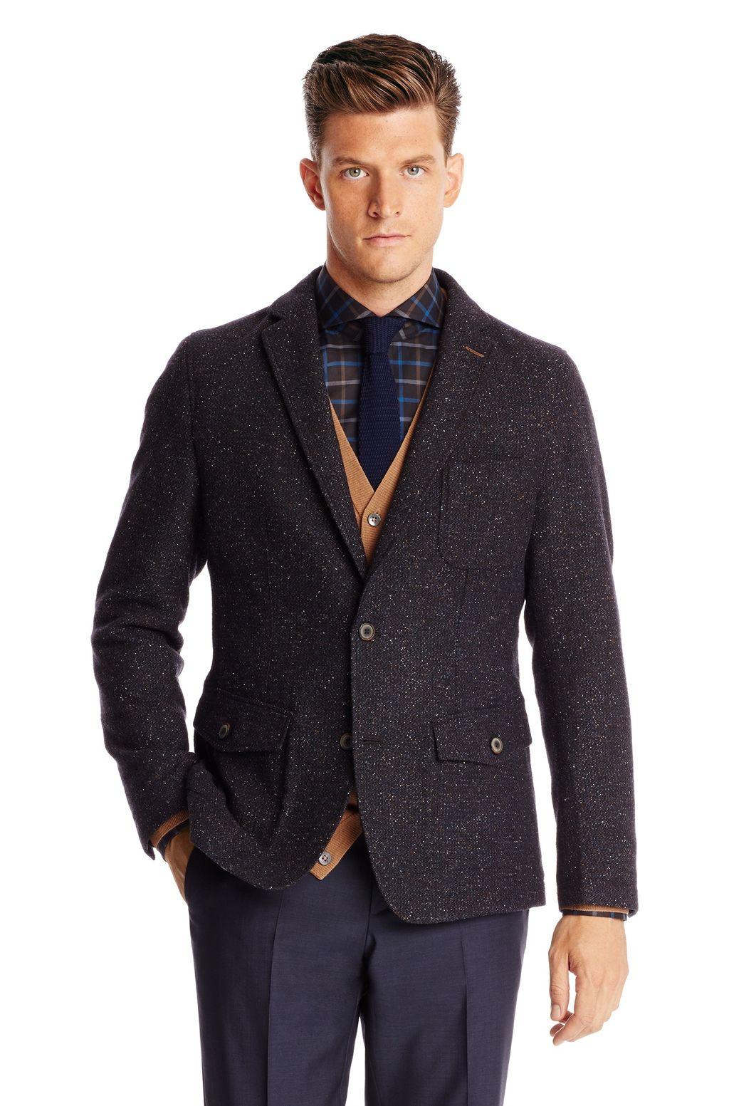 Hugo Boss Brown Marcoszw Regular Fit Wool and Silk Tweed