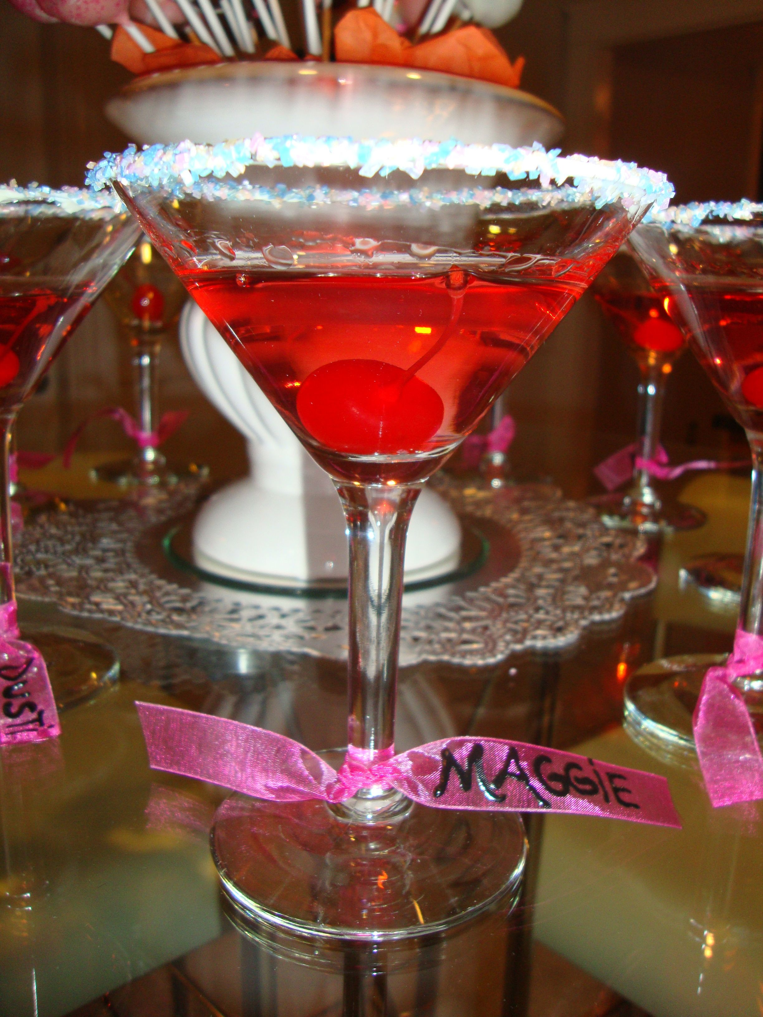 Birthday Cake Martini Cherry 15 Oz Vanilla Vodka Cranberry Juice And 5 Of Champagne Line The Rim With Frosting Dip Into Sprinkles