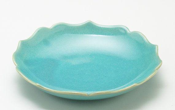 Shiny Aqua Green Lotus Bowl on Etsy, $25.00