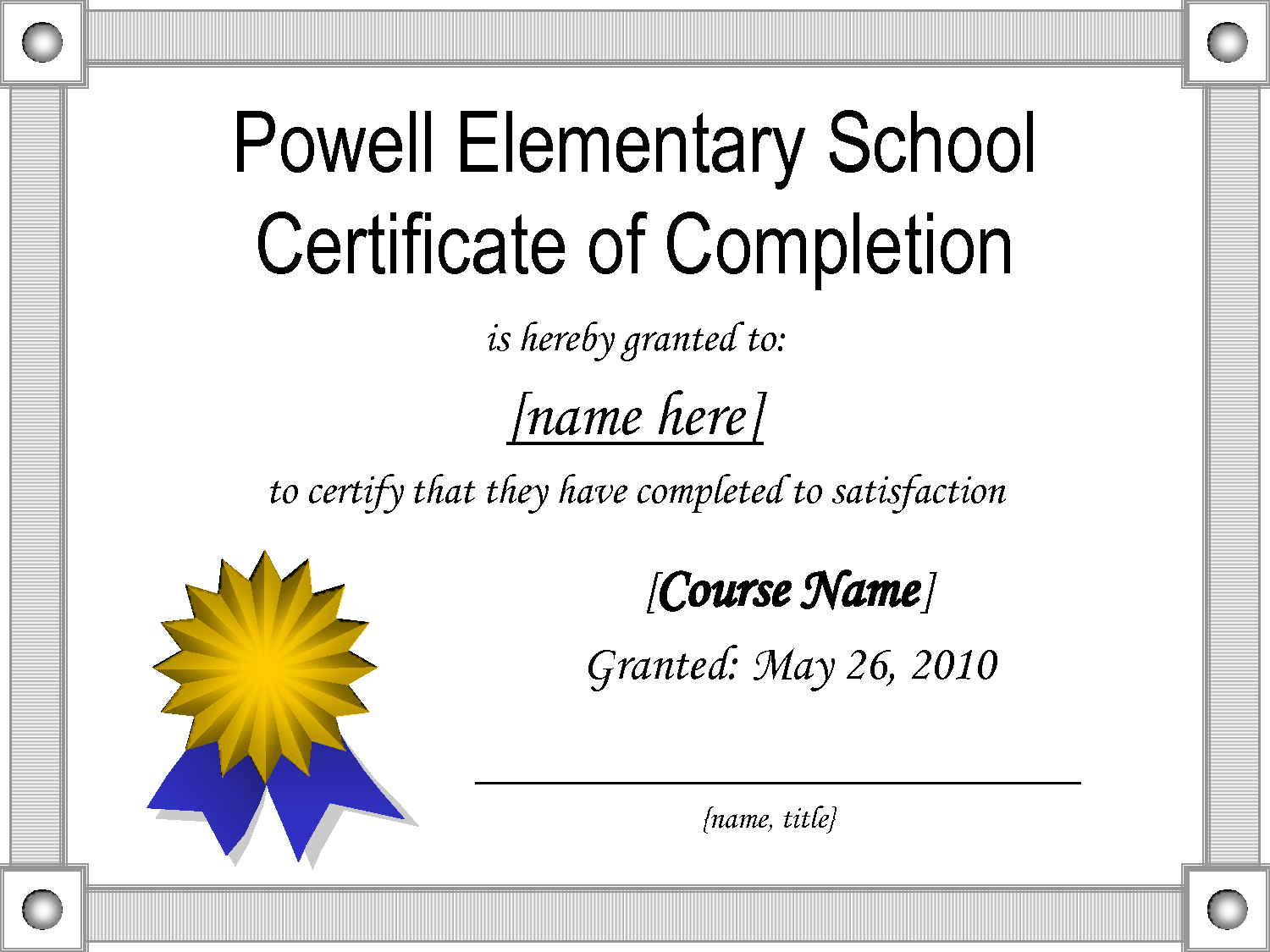 Middle school certificates templates powell elementary middle school certificates templates powell elementary schoolcertificate of completion is hereby granted to yadclub Choice Image
