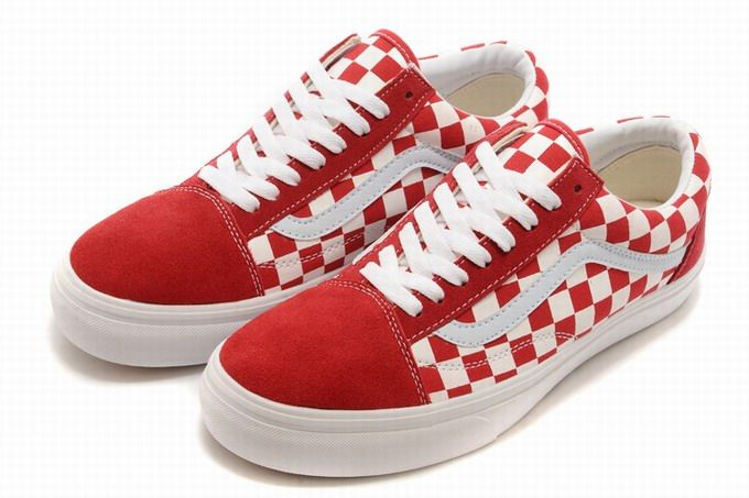 d85dd95b3b Vans Old Skool Classic Checkerboard Red White Womens Shoes  Vans