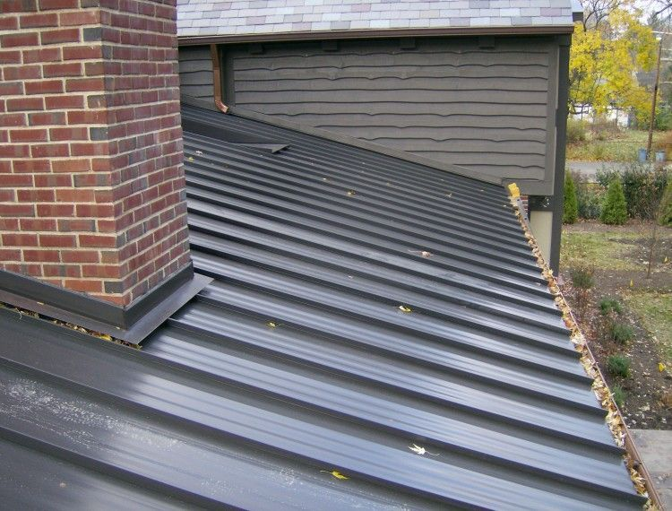 Standing Seam Painted Steel Roof Wider View Of Chimney And Window Pan Standing Seam Metal Roof Wood Cladding