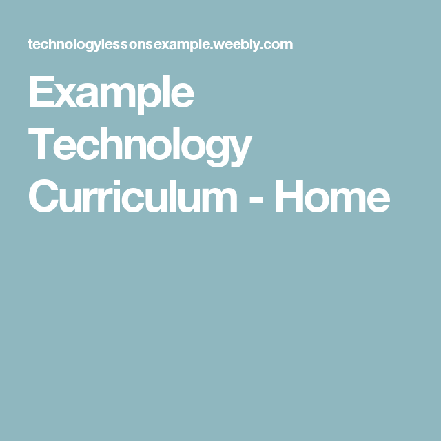 Example Technology Curriculum Home Computer Education
