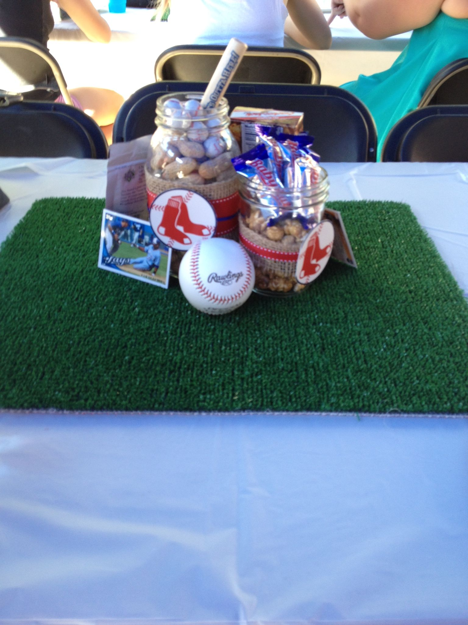 Boston Red Sox Baseball Baby Shower Theme Centerpiece