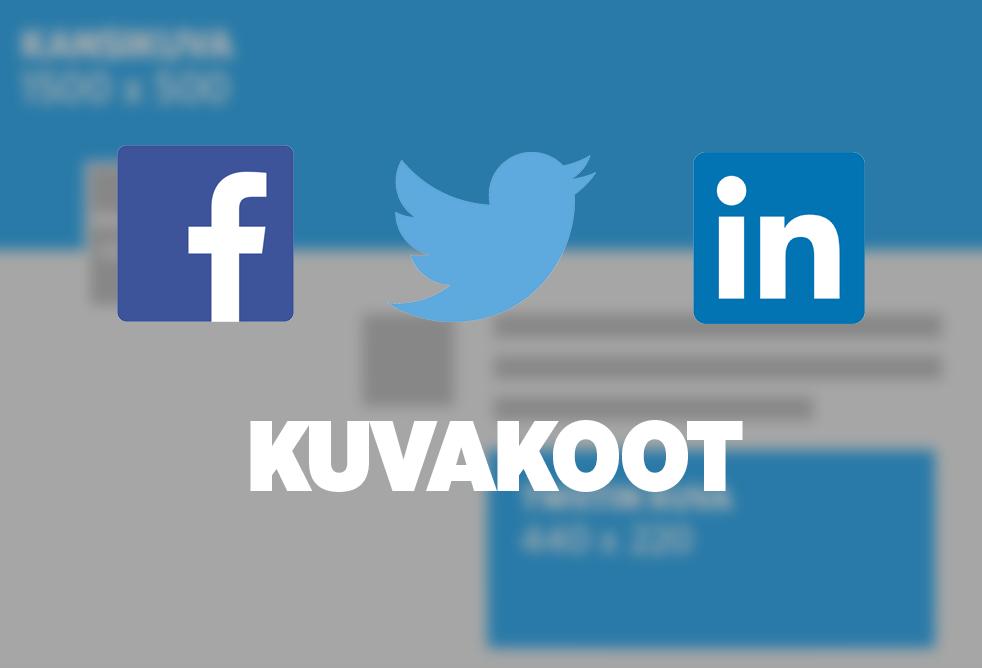 Tärkeimmät kuvakoot Facebookista, Twitteristä ja Linkedinistä. Seuraamalla ohjeita saat profiilisi näyttämään mahdollisimman hyvältä.