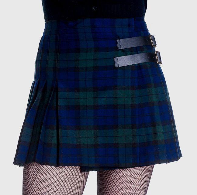 37fb963c379496 Black Watch Tartan Kilt HELL BUNNY Mini Skirt- XL GOTH PUNK NEW 16 ...