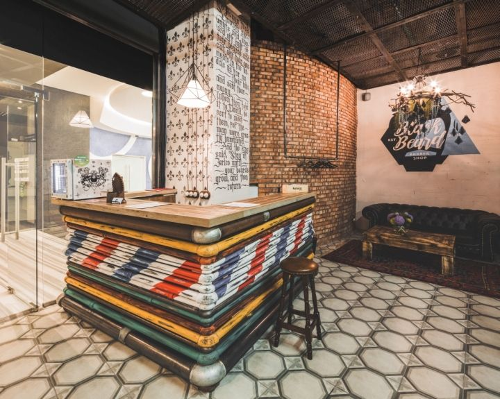 Black beard barbershop by b v studio moscow love the use for Barber shop interior designs ideas