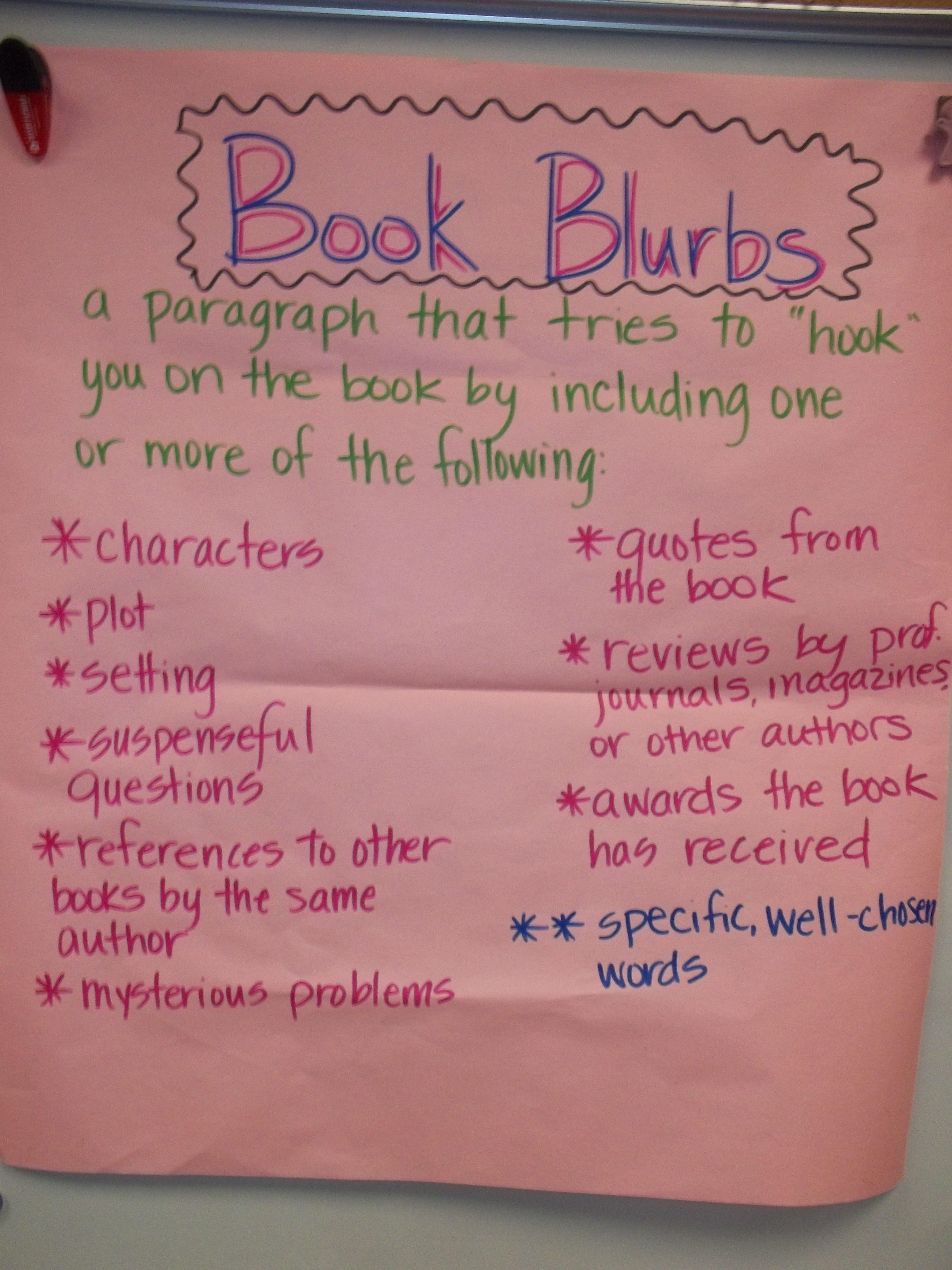 Book Blurb Anchor Chart