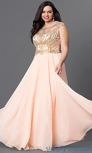 15af1e01075 Shop plus formal long prom dresses at Simply Dresses. Floor-length  sleeveless evening gowns under  300 with embroidered illusion-lace bodices.