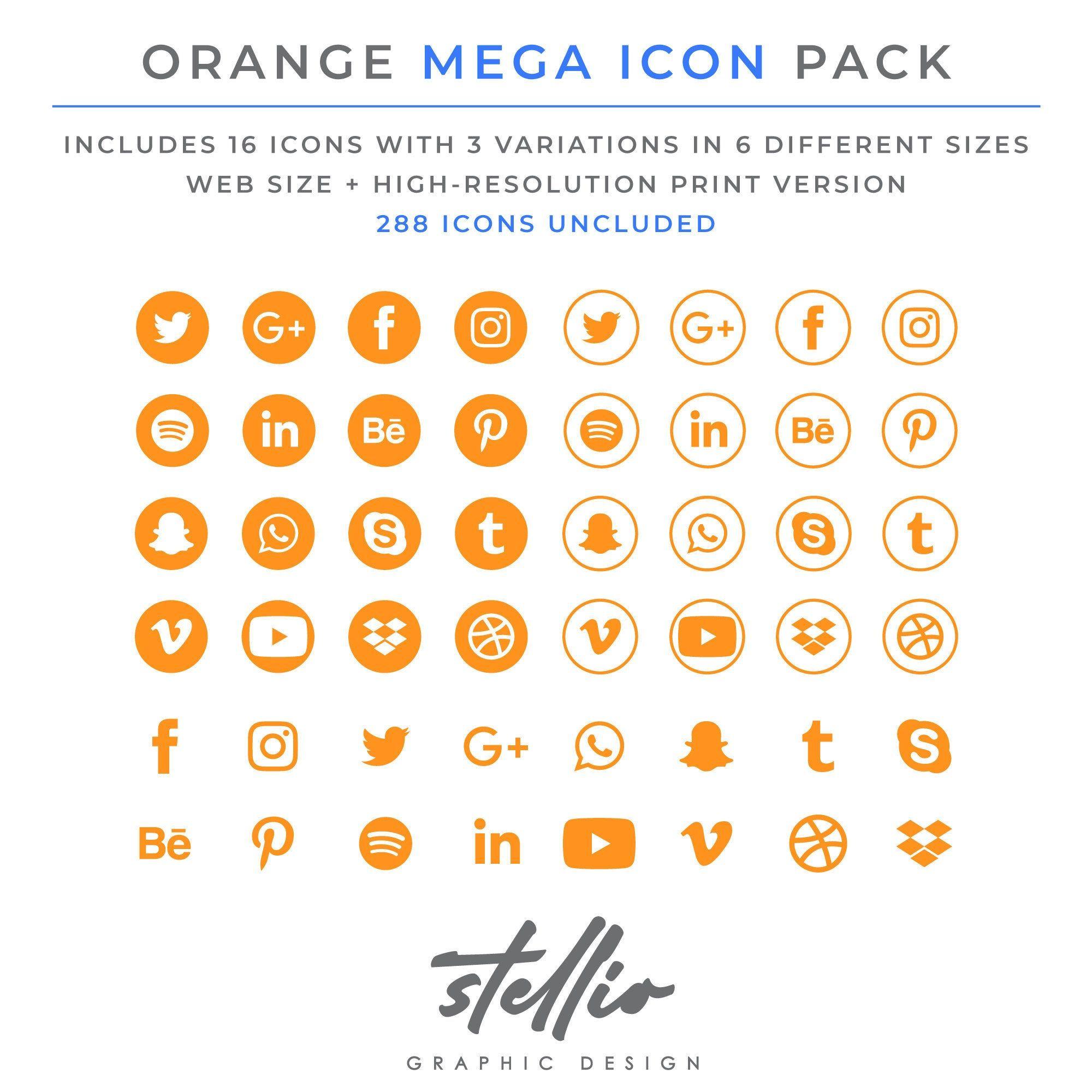 Social Media Icon Set Orange Social Media Graphic Icons Social Media Logo Facebook Instagram Pinteres Social Media Icons Social Network Icons Media Icon