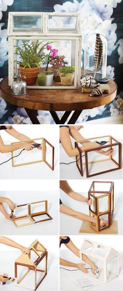 DIY Build a terrarium using picture frames http://www.countryliving.com/crafts/projects/make-terrarium-0410#slide-1