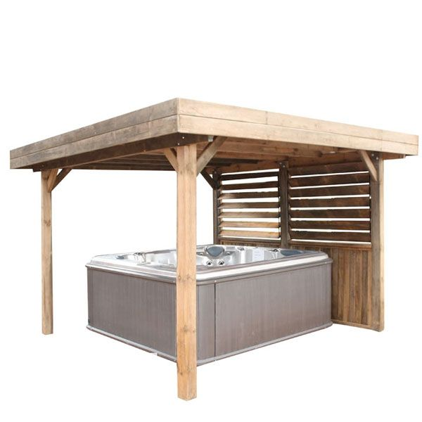 Discover The Rustic Flat Roof Gazebo Elegant Featuring A Flat Roof And Wind Screen At Discount Price With Swimmi Hot Tub Gazebo Hot Tub Shelters Hot Tub Patio
