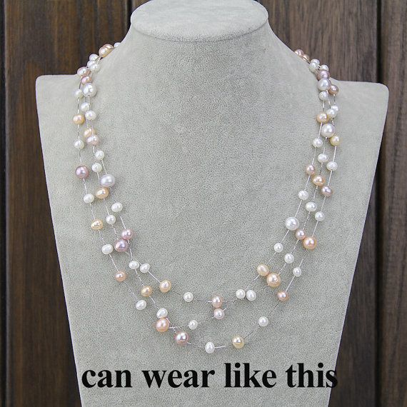 Pearl necklacefloating pearl necklacepearl statement by PearlOnly