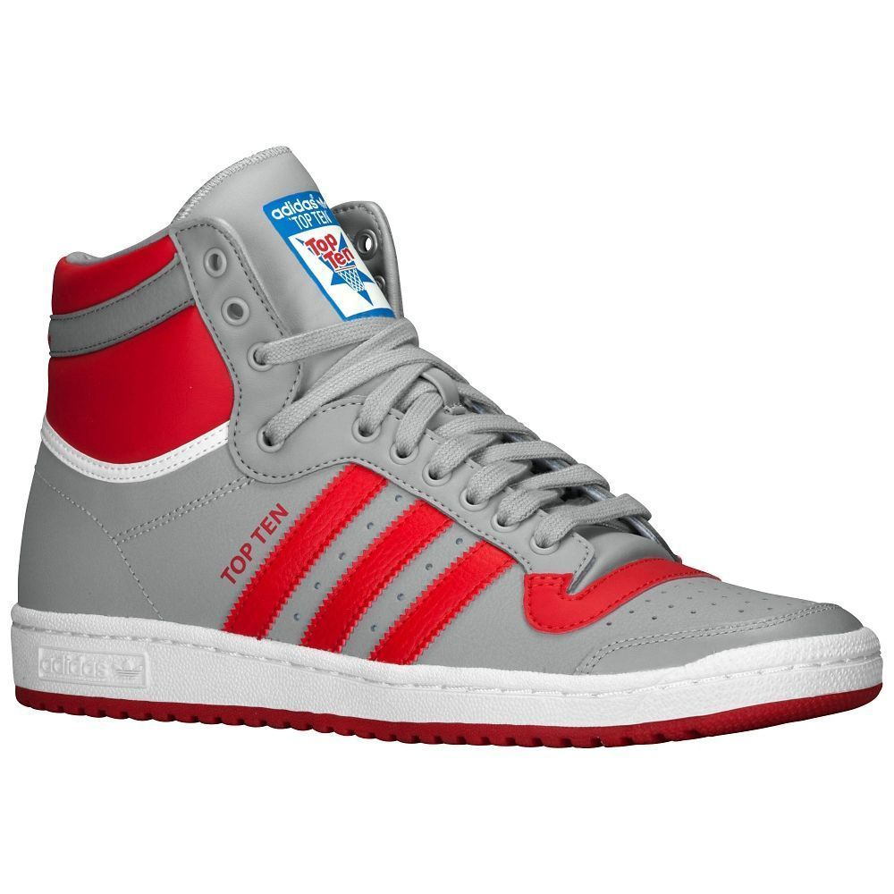 Men's adidas Top Ten Hi Casual Shoes B26162 Grey/Scarlet/White size 7.5  thru 9