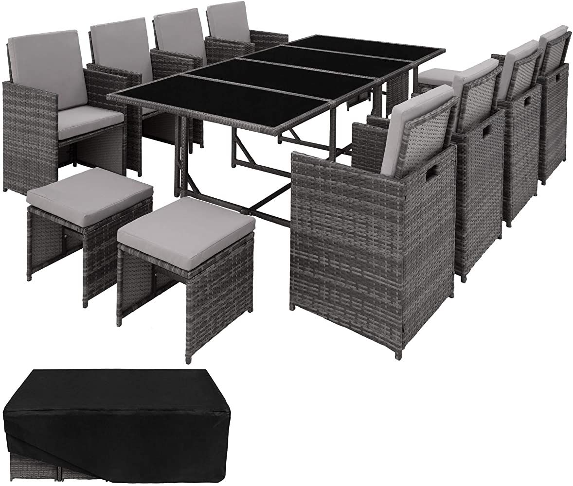 Tectake 403057 Poly Rattan 841 Sitzgruppe 8 Stuhle 4 Hocker 1