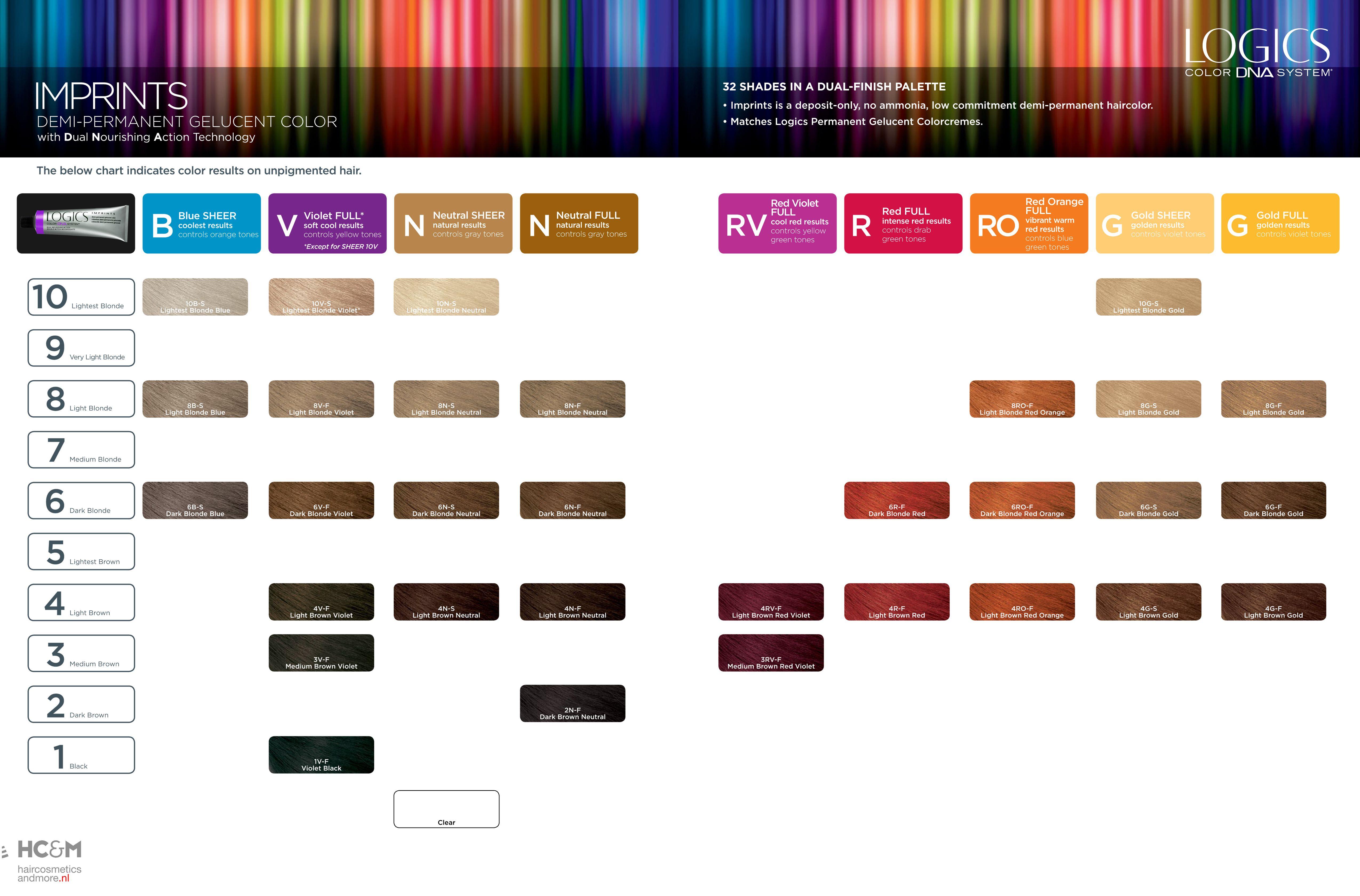 Logics Color Dna System Imprints Demi Permanent Celucent Color Shades Palette Hair Color Chart Chrome Hair Color Joico Color Chart