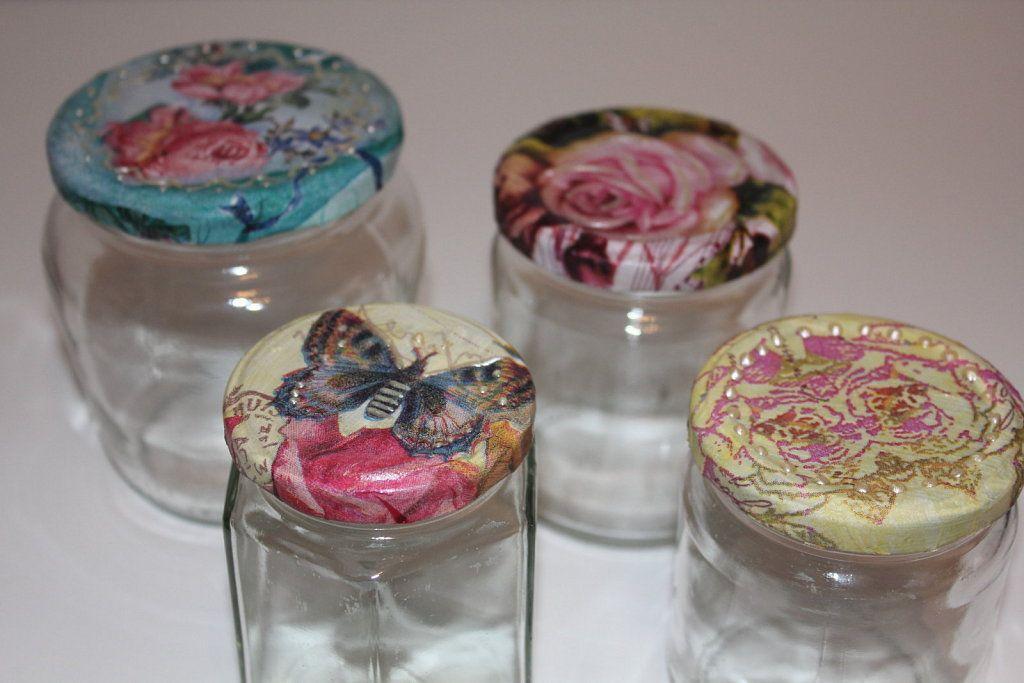 Capazos decorados con decoupage buscar con google for Decoracion de frascos de vidrio para cocina