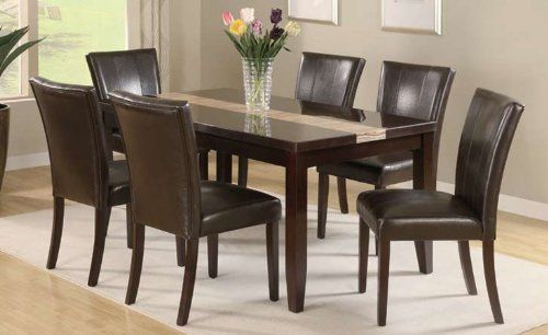 Dining Table With High Gloss Espresso Marble Veneer Top With