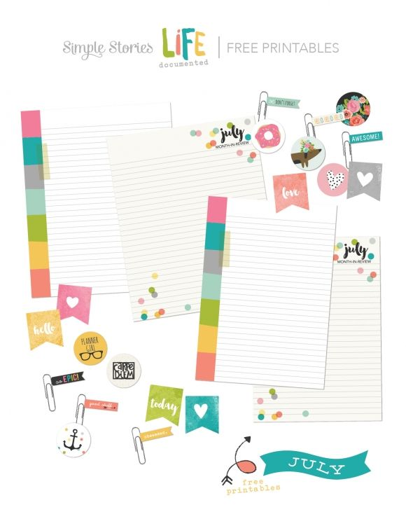July Document It Free Printables Carpe Diem Planner Simple Stories Planner Printable Planner