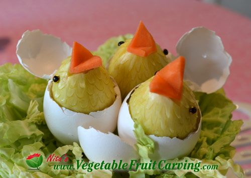 Carved vegetable hatching chicks see the ingredients and