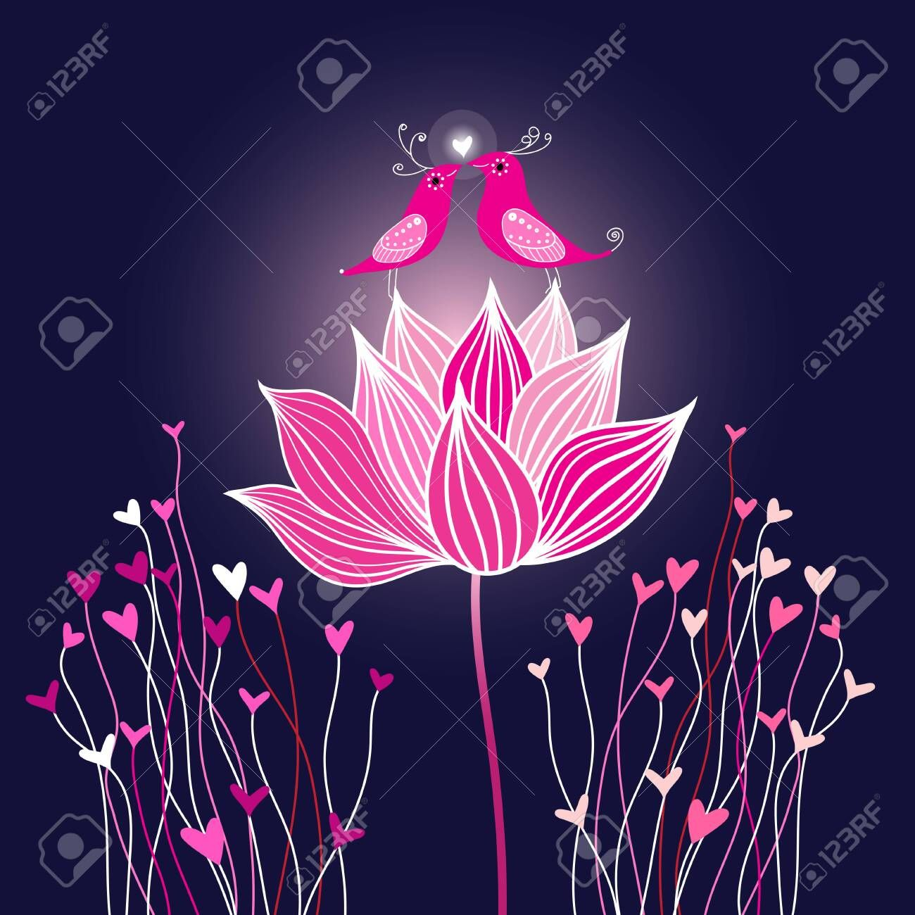Graphic vector birds in love on a lotus flower , Aff,