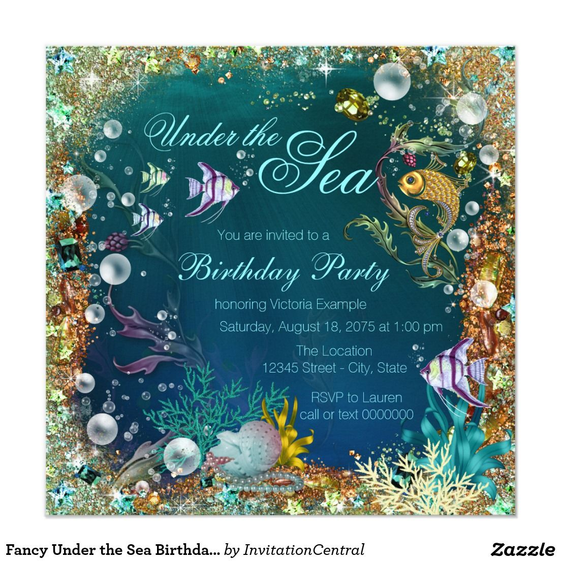 Fancy under the sea birthday party card invitations the oujays
