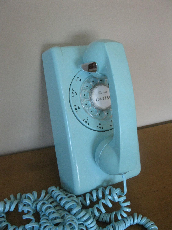 Vintage TURQUOISE Rotary Telephone   Wall Phone  Retro Office  Kitchen  Decor  ITT Stromsberg