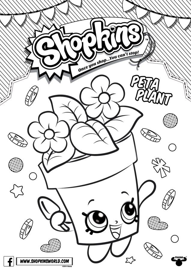 Shopkins Coloring Pages Season 4 Peta Plant | Camila\'s pArties ...