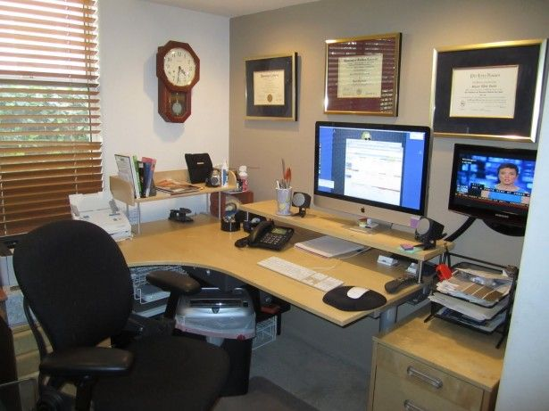 home office desk ideas. Functional Home Office Desk Ideas With Black Fabric Swivel Chair And White Maple Wood