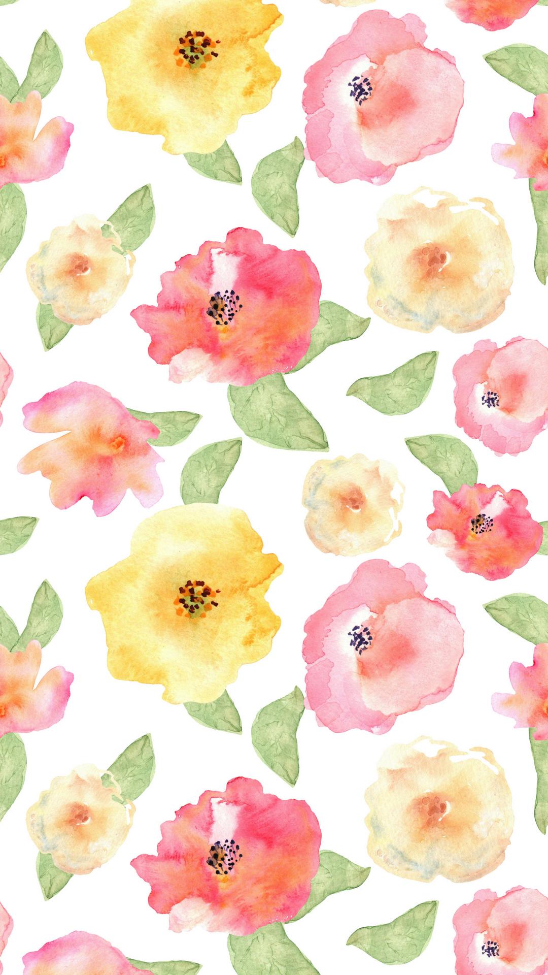 Watercolor Floral Phone Backgound Png 1 080 1 920 Pixels Ipad