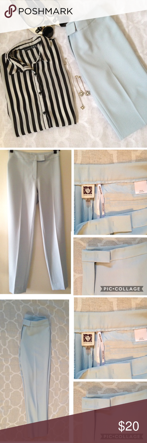 Anne Klein Trouser Beautiful powder blue trouser pant by Anne Klein. Never worn but have no tags. Can be styled a number of different ways. I purchased thinking they would fit but sadly, they didn't. 37 inches long. Anne Klein Pants Trousers