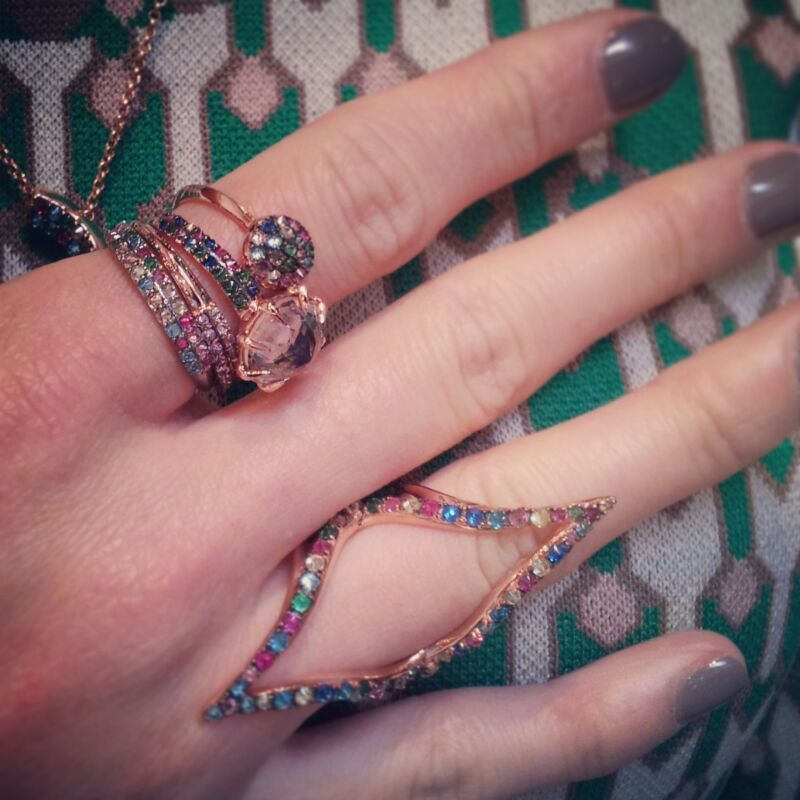 Sneaky peek! Here is a glimpse of the new Autumn/Winter collection 2014, 'Zelle.' We love our new #knucklering - which is your fave? #Paris #AW14 #sneakypeek #handparty #aotd #instajewels #fashionweek
