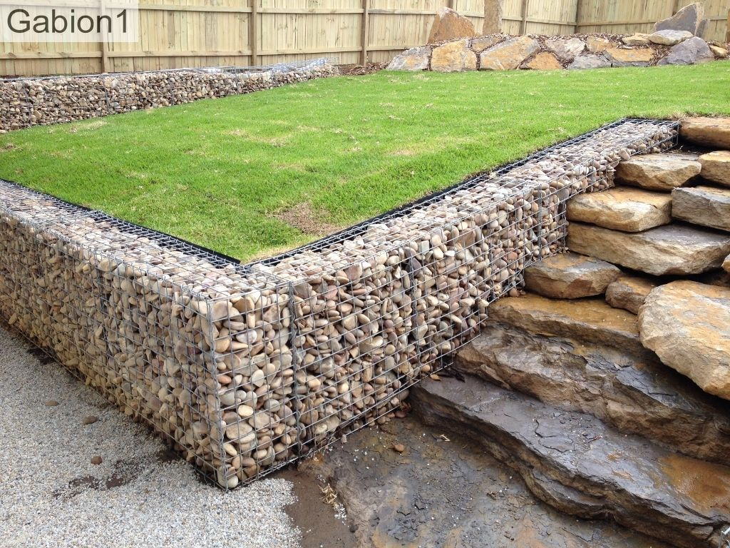 gabion wall with natural rock steps gabion ideas pinterest rock. Black Bedroom Furniture Sets. Home Design Ideas