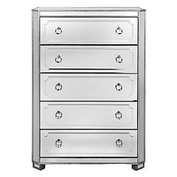 Simplicity Mirrored 5 Drawer Tall Chest, Z Gallerie Mirrored Dresser