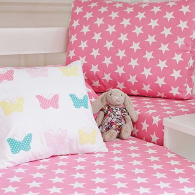 Pink Star Bedding And Butterfly Pillow At Pink Themed Children 39 S Bedroom