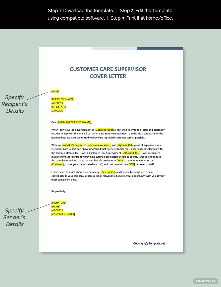 Customer Care Supervisor Cover Letter Template Free Pdf Google Docs Word Template Net Cover Letter Template Cover Letter Template Free Cover Letter