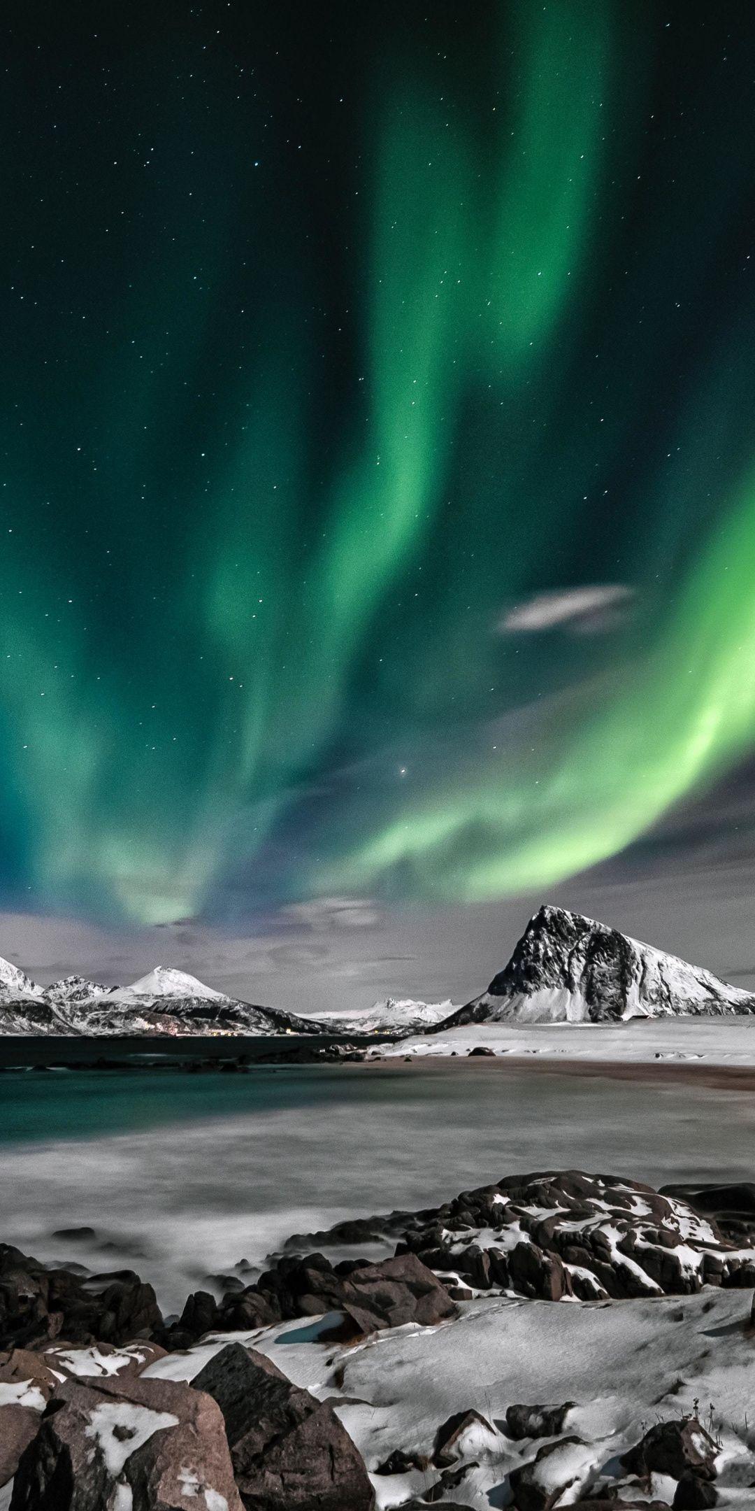 Aurora, Nature, colorful, sky, 1080x2160 wallpaper