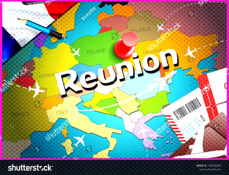 Reunion city travel and tourism destination concept. France flag and Reunion city on map. France tr