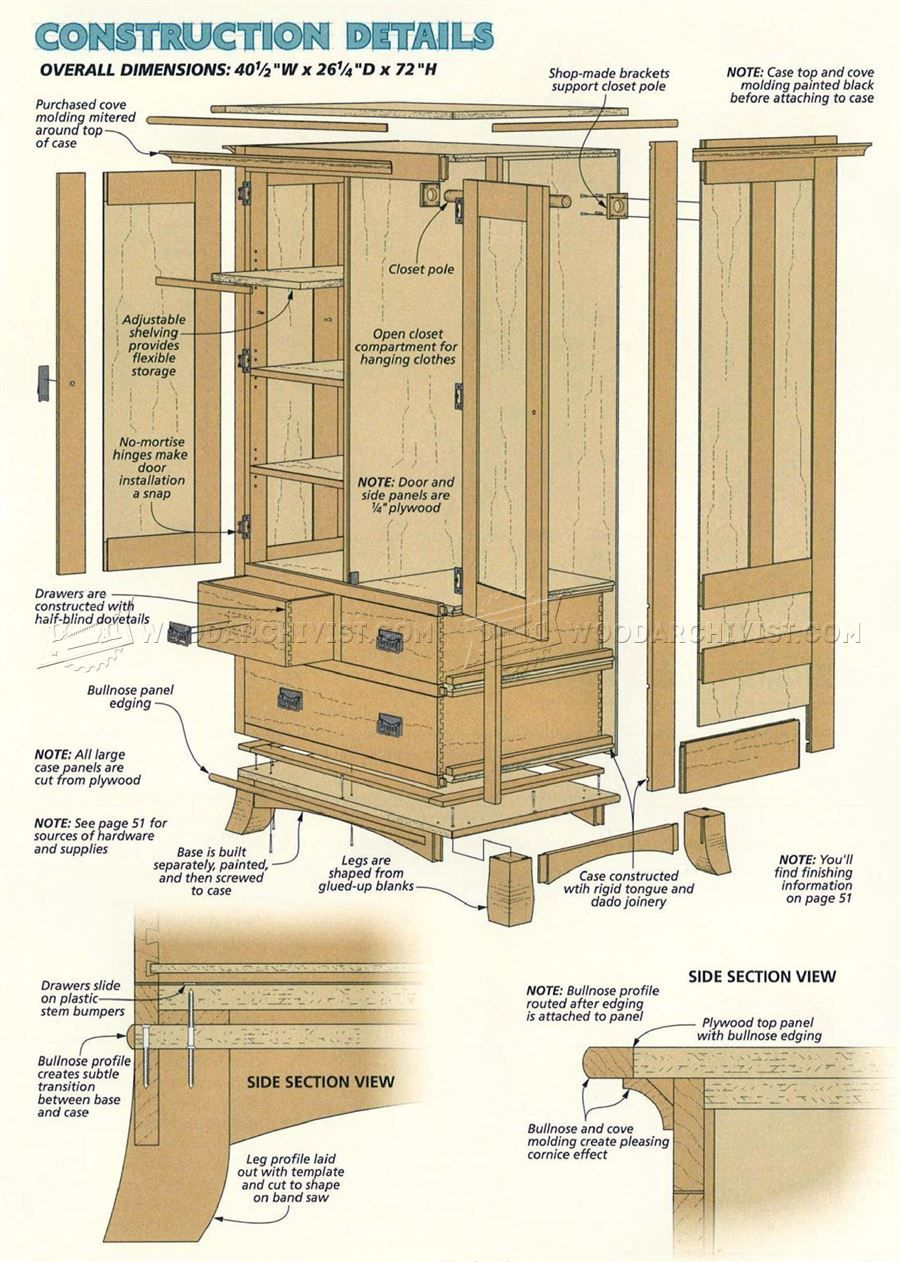 #462 Cherry Armoire Plans   Furniture Plans
