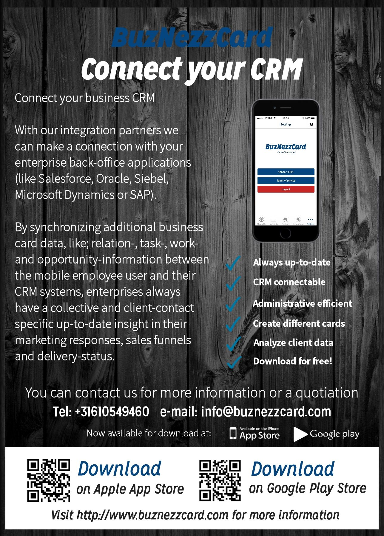 Flyer backside about our businesscard app with features, where to ...