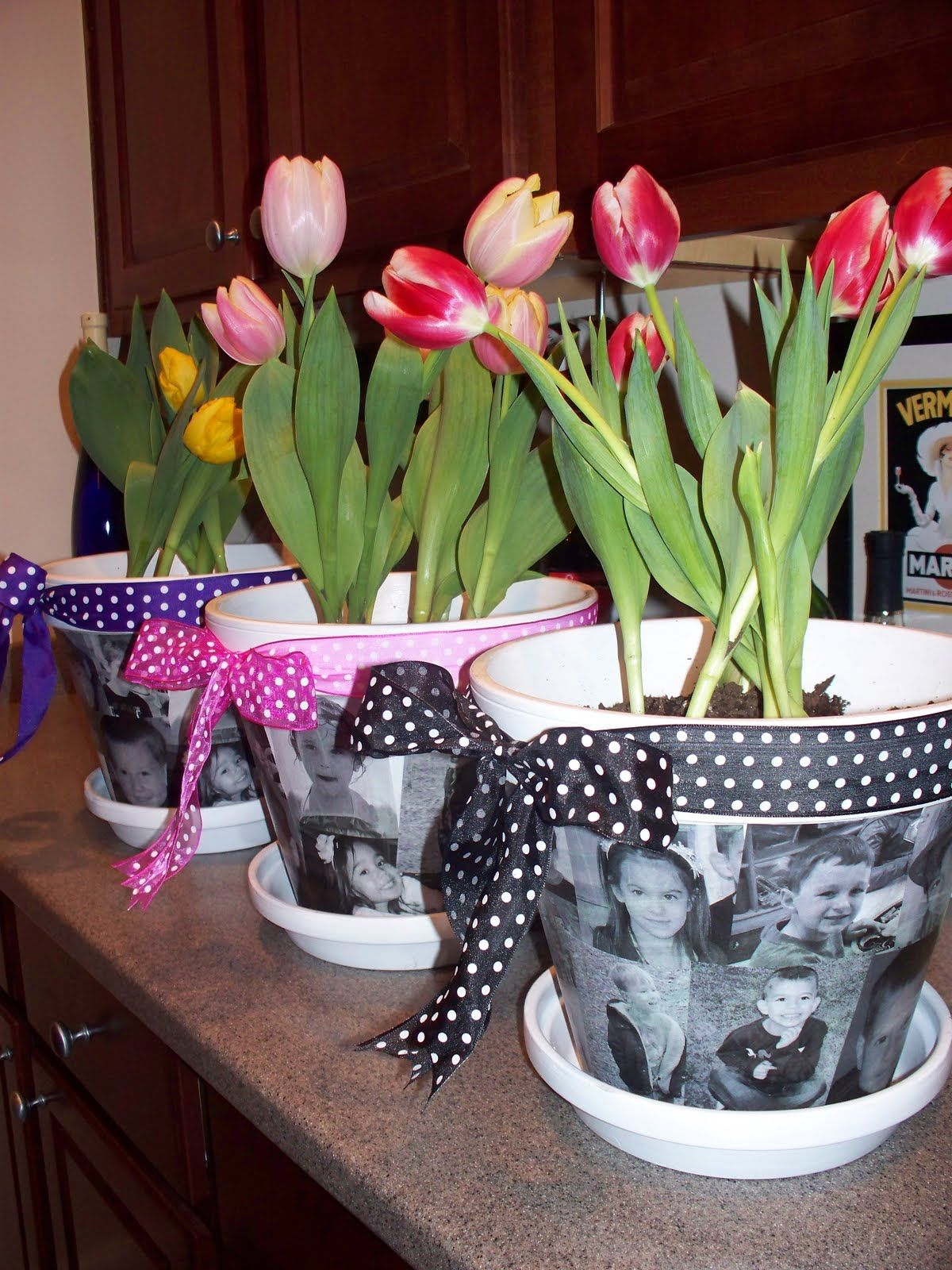 Mothers day idea using pics of the scouts through their years in mothers day gift idea personalized photo flower pots for mom or grandma modge family photos onto pots and add a pretty bow mothers day gift negle Image collections