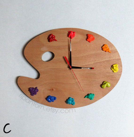 Artist Palette Clock 3d Paint On Wood Pallet Pallette Art Studio Decor Artist Painter Gift Art Studio Decor Artist Palette Painting On Wood