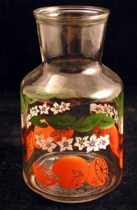 glass juice carafe vintage 1950s juice pitcher glass vintage glassware on kitchen decor pitchers carafes id=57364